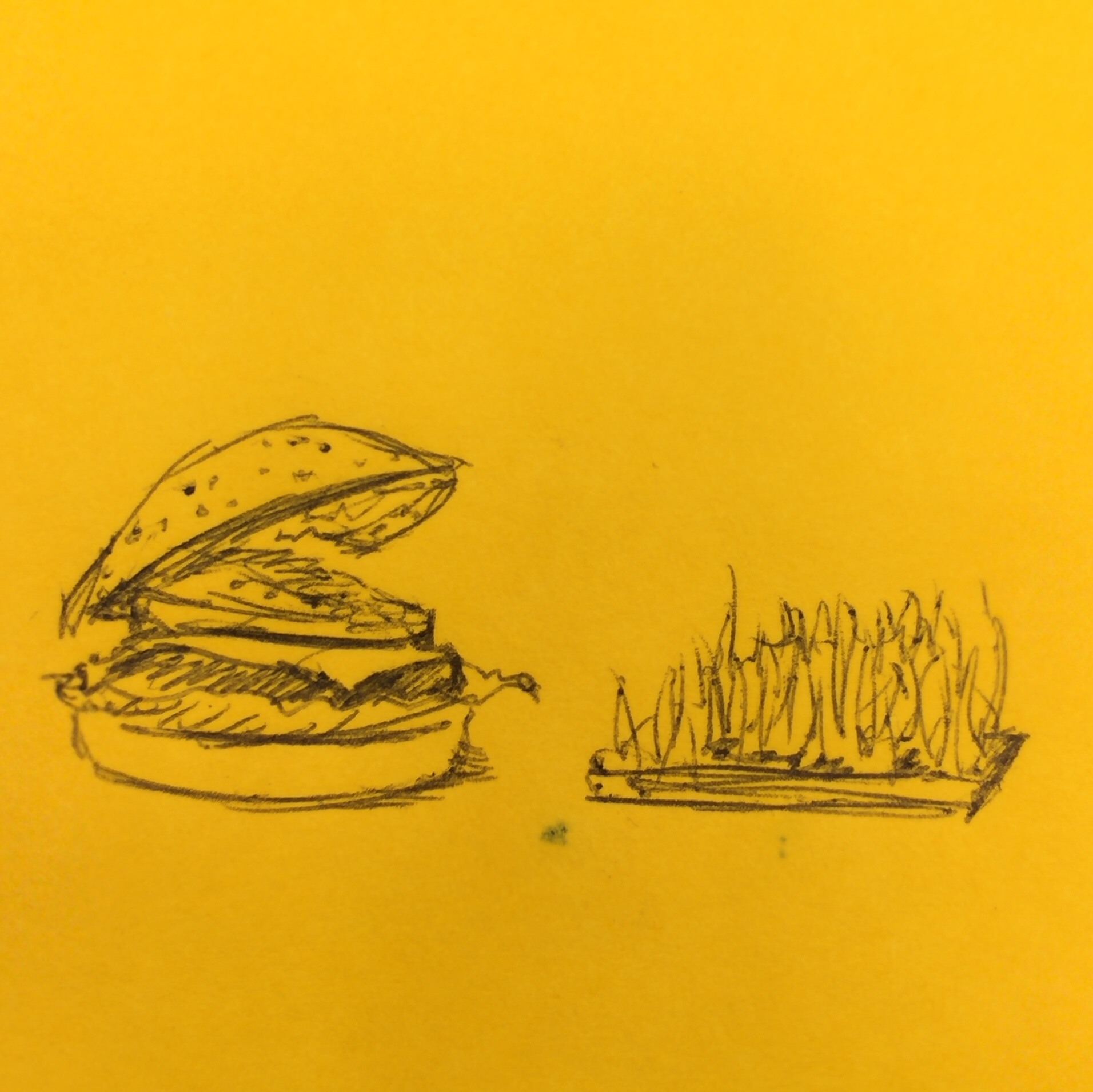 Drawing of a cheeseburger eating grass